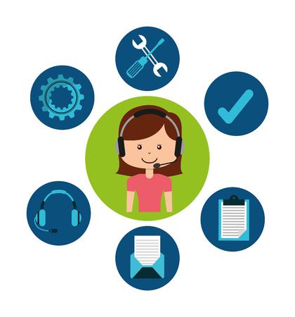 call centre girl: customer service design Illustration