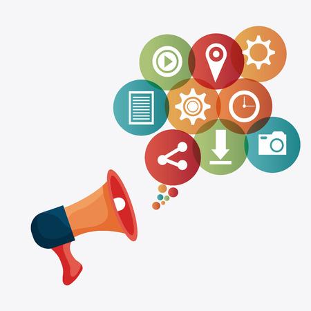 mobile internet: Digital and social marketing strategies, vector illustration   Illustration