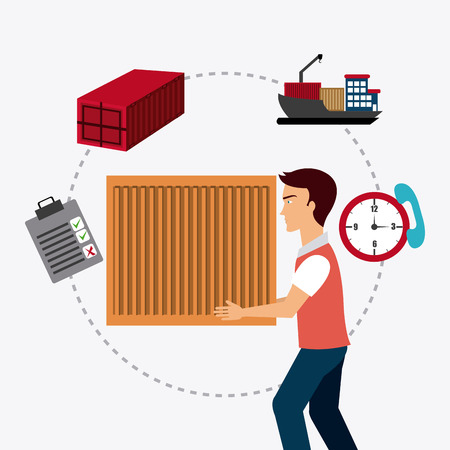 logistics: Delivery and logistics business operations, vector illustration eps 10