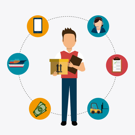 logistics: Delivery and logistics business operations, vector illustration