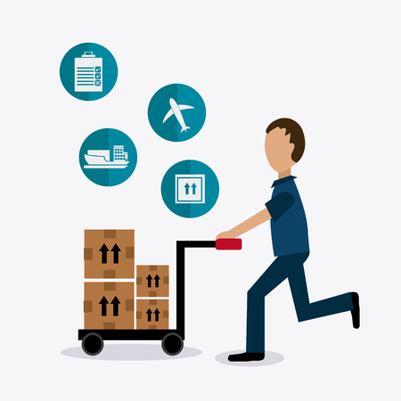 Delivery and logistics business operations, vector illustration