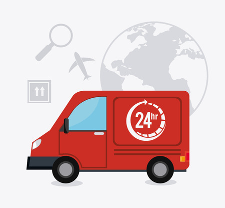 delivery van: Delivery, transport and logistics business, vector illustration