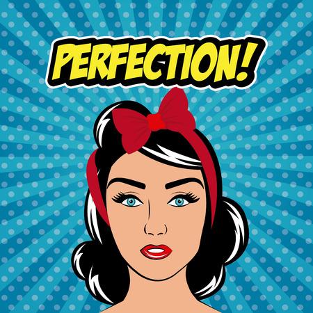 femenine: Womens in pop art cartoons graphics, vector illustration eps 10
