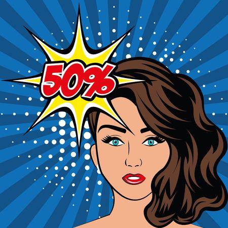 Vrouwen in pop art beeldverhalen grafiek, vector illustratie eps 10 Stock Illustratie