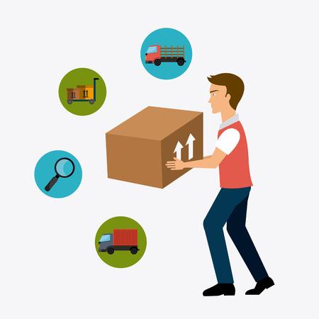 delivery driver: Delivery,transport and logistics business, vector illustration Illustration