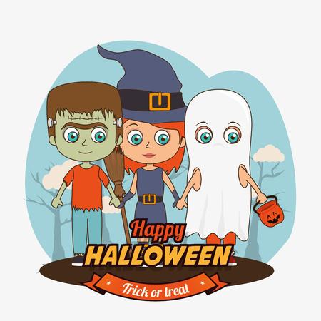 hapiness: Happy halloween graphic design, vector illustration eps 10 Illustration