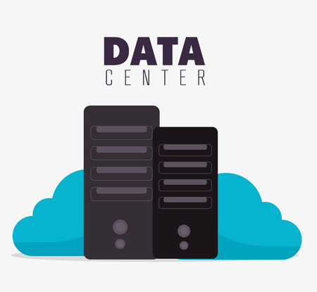 data transfer: Data center, cloud computing and hosting, vector illustration eps 10. Illustration