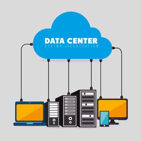 tecnologia informacion: Centros de datos, computaci�n en nube y alojamiento, ilustraci�n vectorial eps 10.