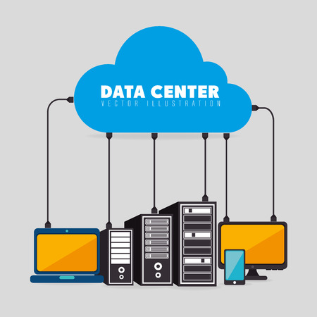 Datacenter, cloud computing en hosting, vector illustratie eps 10.