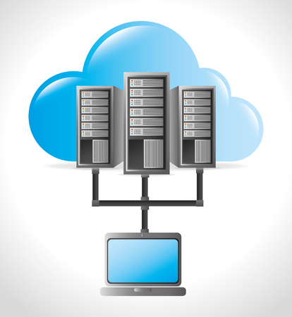 in center: Data center, cloud computing and hosting, vector illustration eps 10. Illustration