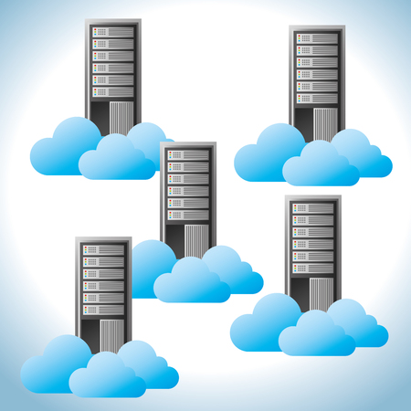 Data center, cloud computing and hosting, vector illustration eps 10. Ilustracja
