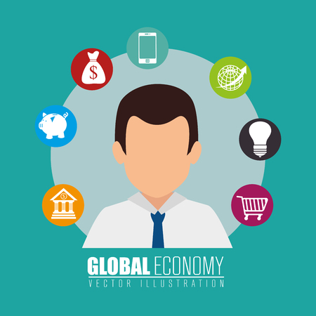 Business,money and global economy with colorful icons, vector illustration eps 10