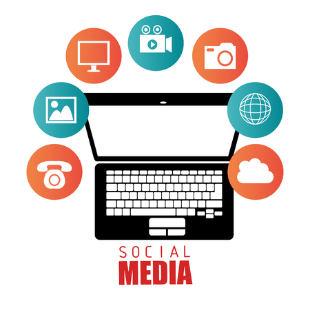 socializing: Social media entertainment graphic design, vector illustration
