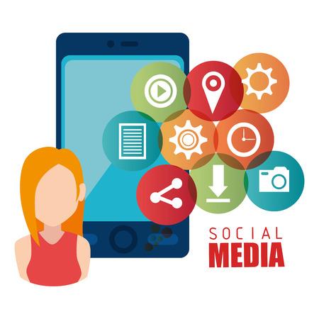 socializing: Entretenimiento medios sociales dise�o gr�fico, ilustraci�n vectorial Vectores