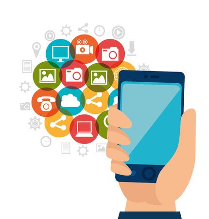 socializando: Entretenimiento medios sociales dise�o gr�fico, ilustraci�n vectorial Vectores