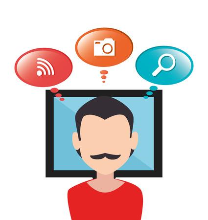 socializando: Entretenimiento medios sociales diseño gráfico, ilustración vectorial Vectores