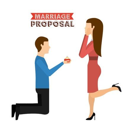 proposal of marriage: matrimonio disegno proposta, illustrazione grafica vettoriale eps10