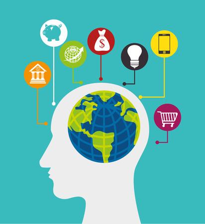 economia: La economía global, el dinero y los negocios de diseño, ilustración vectorial