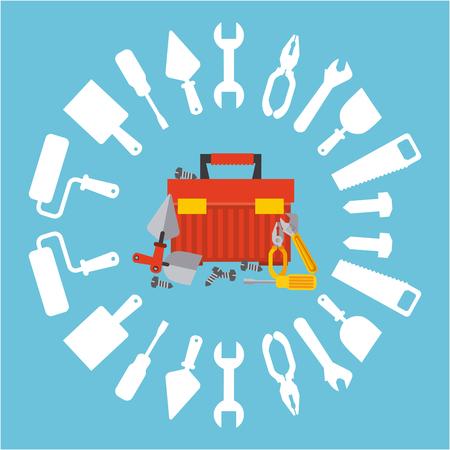 herramientas de construccion: diseño de servicios de reparación, ilustración vectorial gráfico Vectores