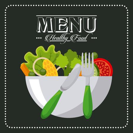 alimentos saludables: diseño del menú vegetariano, ilustración vectorial gráfico
