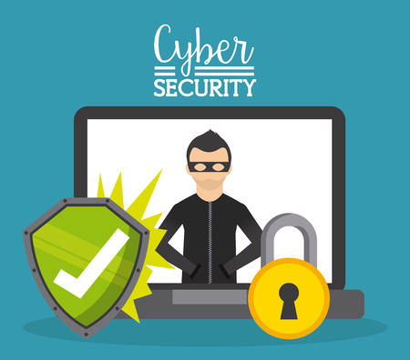 computer security: cyber security design, vector illustration graphic Illustration