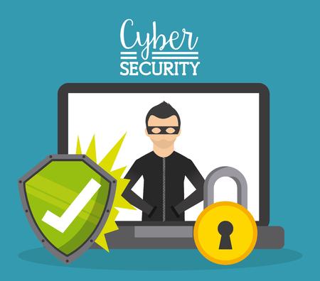 seguridad social: diseño de la seguridad cibernética, ilustración vectorial gráfico Vectores