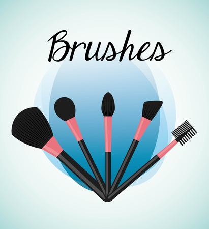 make up brushes: make up brushes design, vector illustration   graphic Illustration