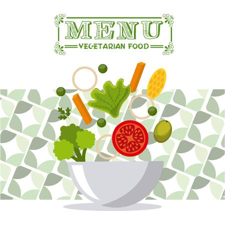 ensalada de verduras: diseño del menú vegetariano, ilustración vectorial gráfico