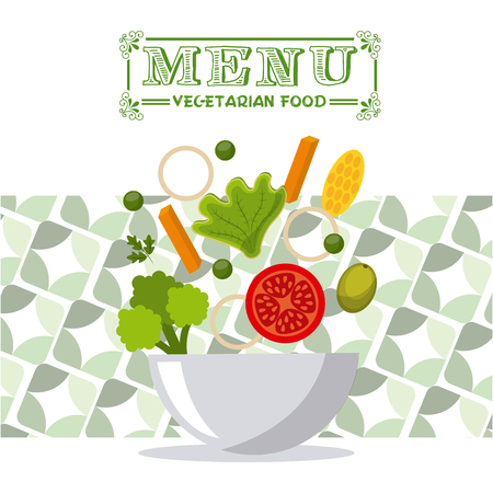 vegetable salad: vegetarian menu design, vector illustration   graphic