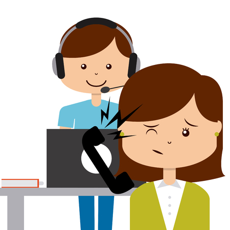 telemarketer: customer service design, vector illustration   graphic