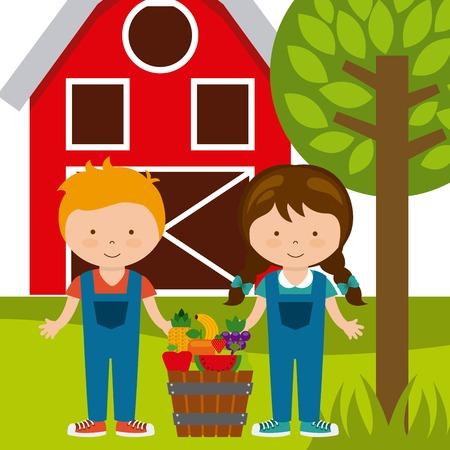 peasant woman: organic food design, vector illustration   graphic