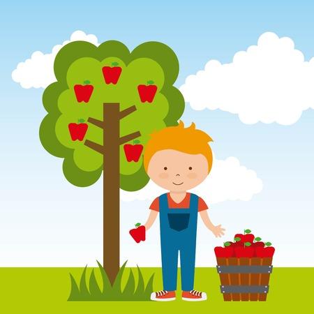 albero di mele: food design organico, illustrazione grafica vettoriale Archivio Fotografico