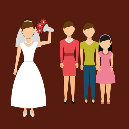 throw up: woman throwing wedding bouquet, vector illustration   graphic