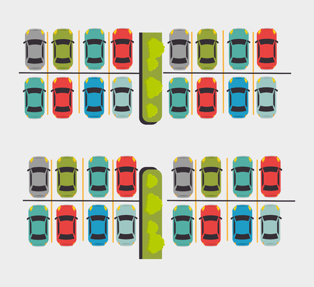 a lot  of: Parking or park zone design, vector illustration. Illustration