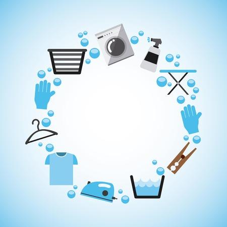 servicio domestico: diseño de servicio de lavandería, ilustración vectorial