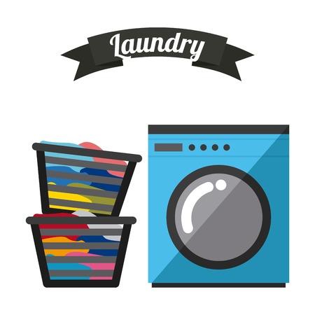 servicio domestico: diseño de servicio de lavandería, ilustración vectorial gráfico