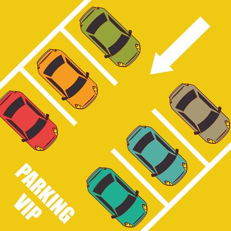 Parking o zona del parque de diseño, ilustración vectorial. Foto de archivo - 45166791