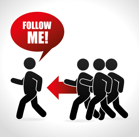 socializando: Follow me social network theme, vector illustration Vectores
