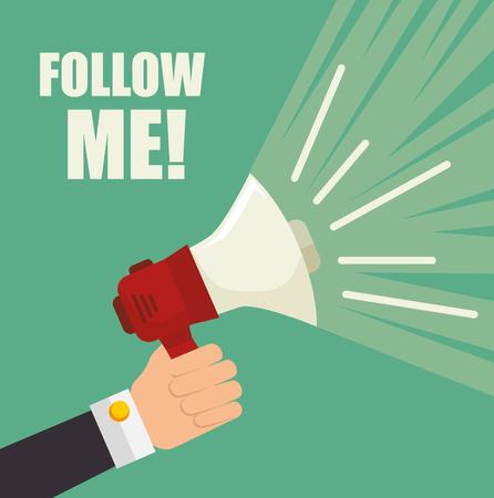 Follow me social network theme, vector illustration 向量圖像