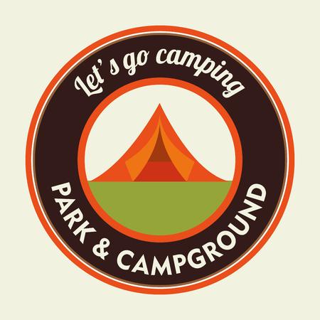 Camping vacation and travel cartoon design, vector illustration. Ilustração