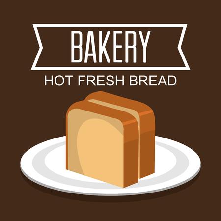 pain frais: Th�me d�licieux et frais du pain boulangerie, illustration vectorielle.