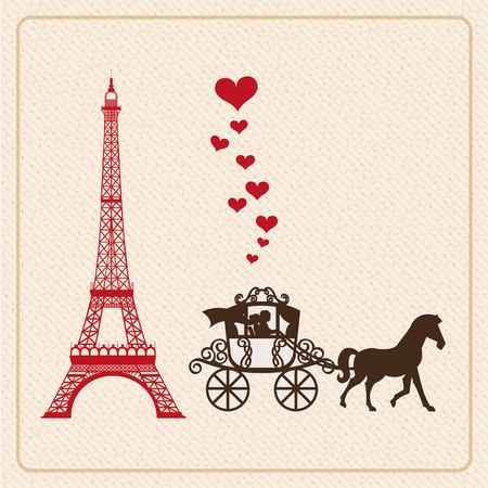 Eiffel Tower: love card design, vector illustration eps10 graphic Illustration