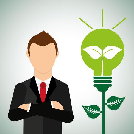 businessman thinking: eco friendly design, vector illustration eps10 graphic Illustration