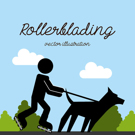 rollerblading: mascot concept design, vector illustration eps10 graphic