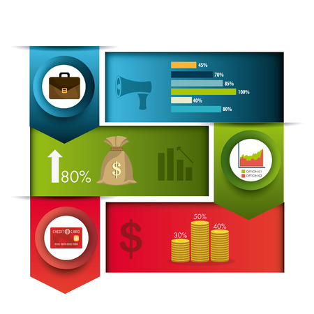 green card: Business growth and money savings infographics design, vector illustration