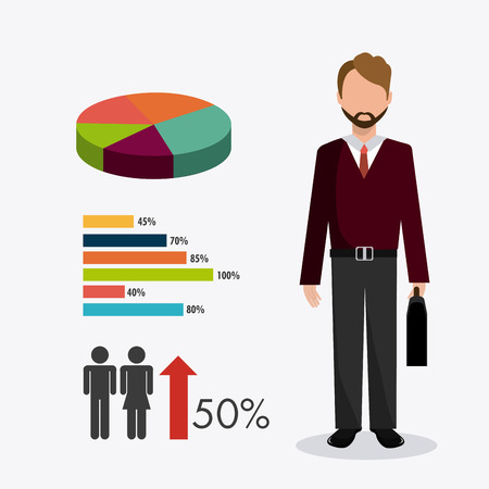 rich couple: Business  and human resources infographic, vector illustration. Illustration
