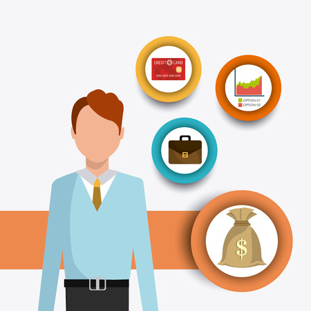 Bag of gold coins: Business  and human resources infographic, vector illustration. Hình minh hoạ