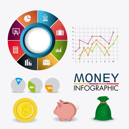 Bag of gold coins: Business growth and money savings infographics design, vector illustration