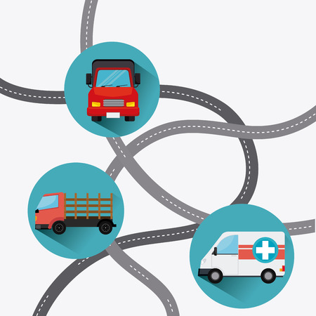 populous: Transport, traffic on road and vehicles design, vector illustration.
