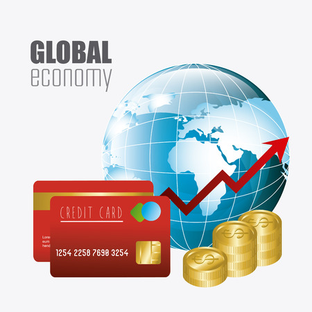 economy: Global economy, money and business design, vector illustration